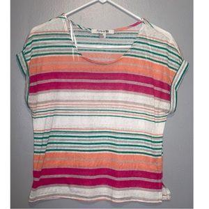bright color striped round neck shirt